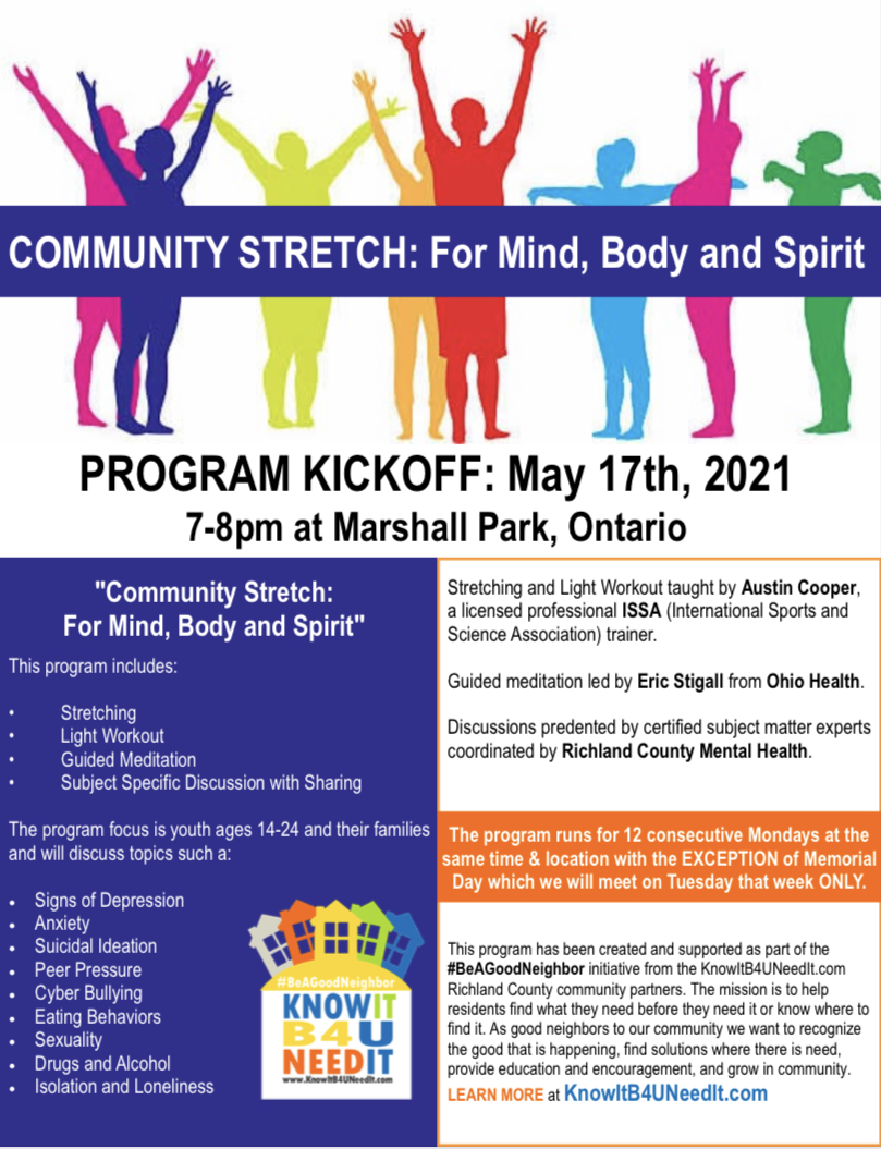Community Stretch Event for May Is Mental Health Awareness Month Ontario, Ohio